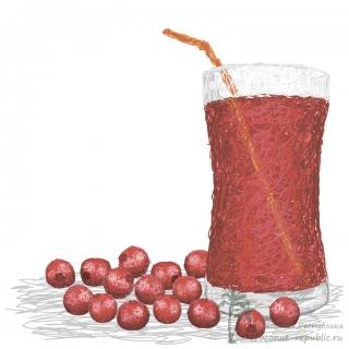 Свежевыжатый сок из клюквы
